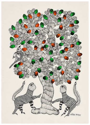 Hungry Monkeys - Gond Painting
