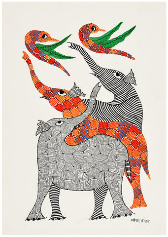 Joyful Elephants And Birds - Gond Painting