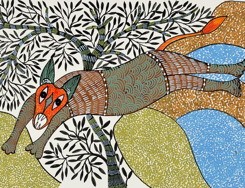Jumping Fox - Gond Painting