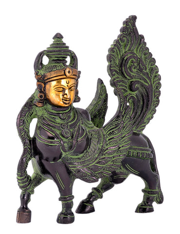Kamadhenu Cow in Black Finish Brass Statue