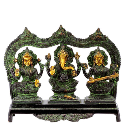Lakshmi Ganesha and Saraswati Black Finishing Brass Statue