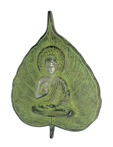 Metal Decorative Buddha On Leaf Shape Decorative Wall Hanging