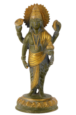 Lord Dhanvantari God of Ayurveda/Medicine Standing Statue with Green Antique Finish
