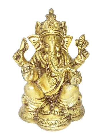Seated Lord Ganesha Small Brass Statue