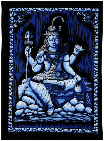 Lord Shiva Mahadev Indian Batik Print Tapestry Wall Hanging