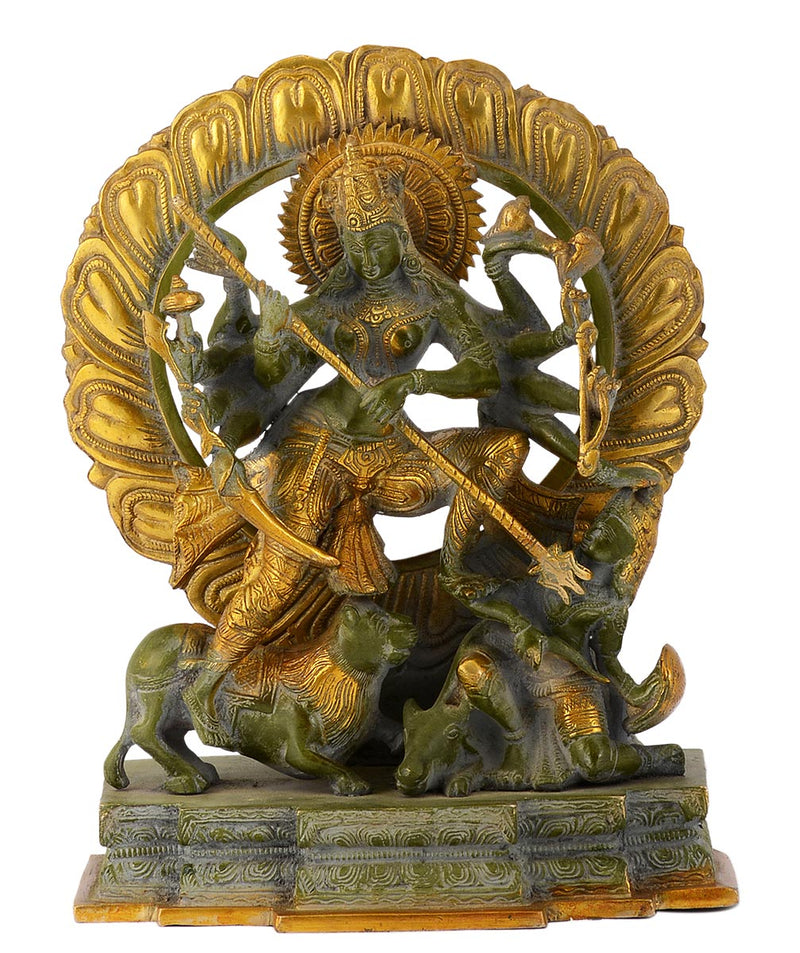 The Goddess Durga Killing the Buffalo Demon (Mahishasura Mardini) Brass Sculpture