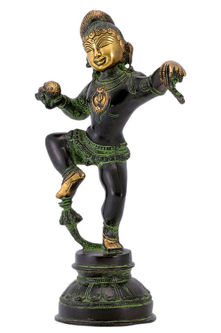 Dancing Baby Krishna with Butter Ball Brass Statue in Black Finishing