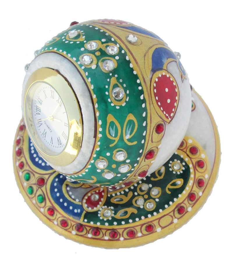 Ball Shape Marble Clock with Meenakari Work