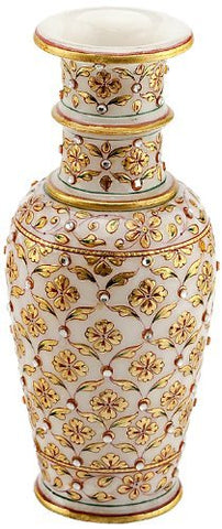 Decorative Rajasthani Marble Gold Embossed Flower Vase