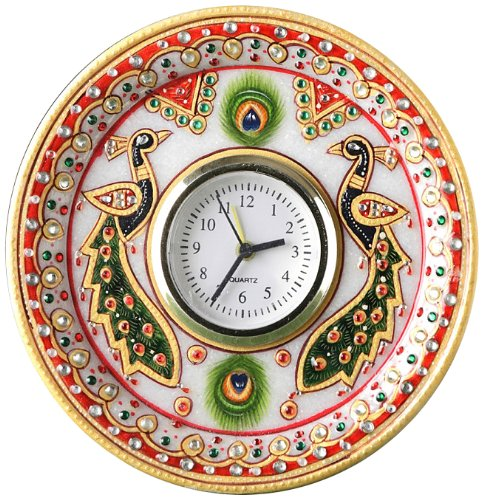 Decorative Marble Clock with Kundan Work
