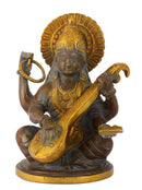 Goddess Saraswati Brass Statue in Brown Finish