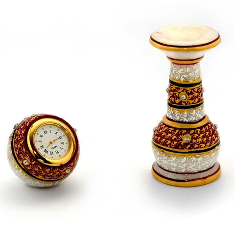 Hand Painted Meenakari Work Marble Pillar Watch