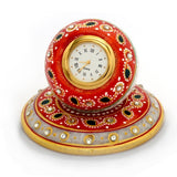 Golden Painted Marble Clock with Meenakari Work