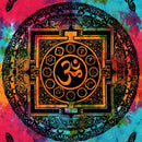 Colorful Om Mandala, Aum Chakra Tie Dye Hippie Cotton Tapestry