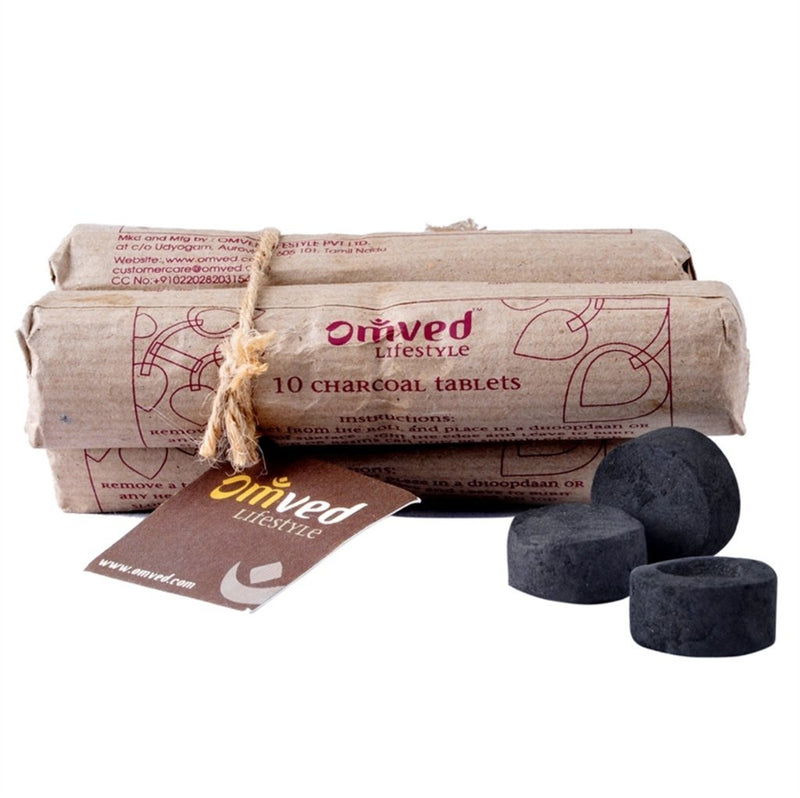 Omved Charcoal Tablets for Burning Dhoop - Pack of 3