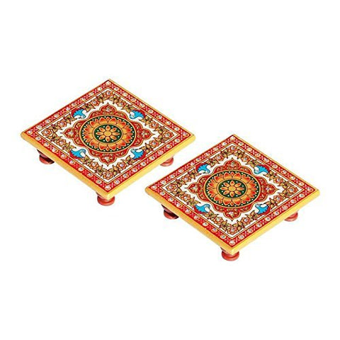 Floral Painted Marble Chowki Set of 2