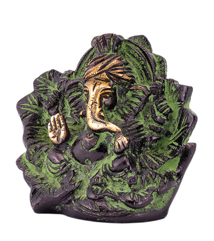 Lord Ganesha Seated on Leaf Brack Color Brass Statue