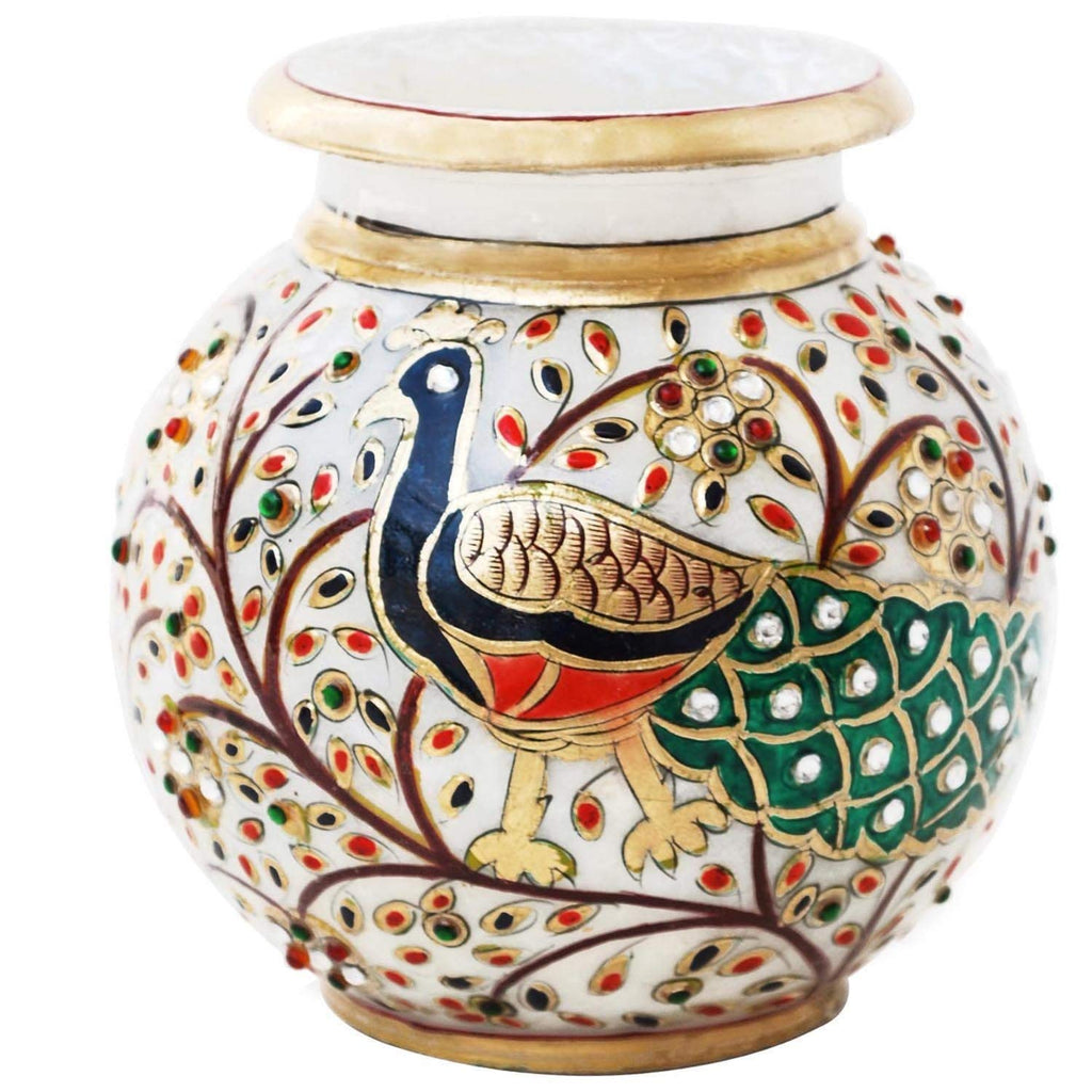 Persian Dream Peacock Motif Kundan Studded Marble Flower Pot