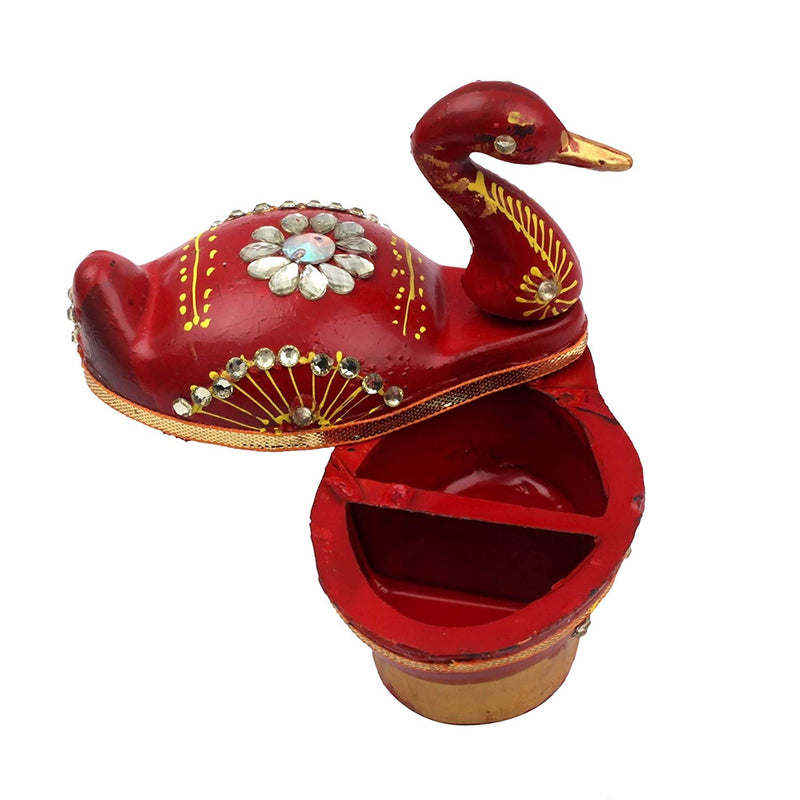 Peacock Shape Meenakari Work Roli Kumkum Box