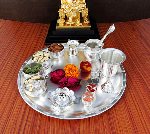 Decorative Pooja Thali Set - Silver Plated