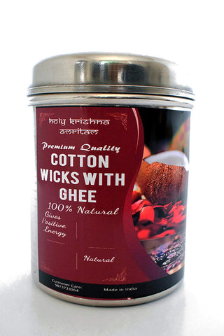 Premium Quality Cotton wicks with Holy Cow Ghee in Steel Can -  250 Pcs.