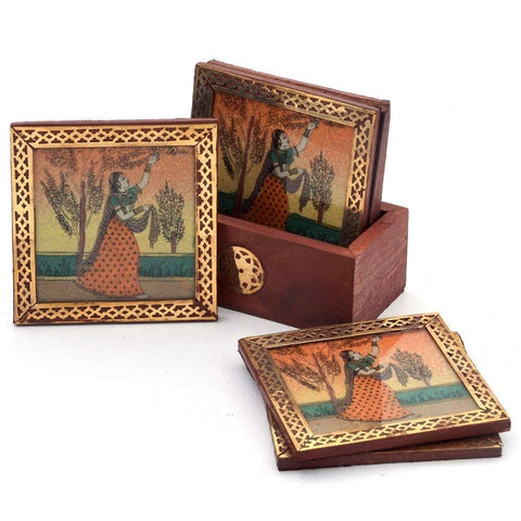 Ragini Painting on Wooden Gemstone Coaster Set
