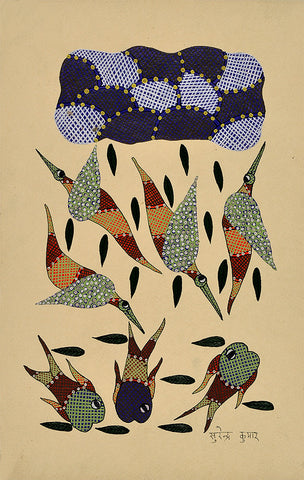 Under Water - Gond Painting
