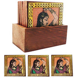 Beauty of Rajasthan Wooden Gemstone Coasters Set