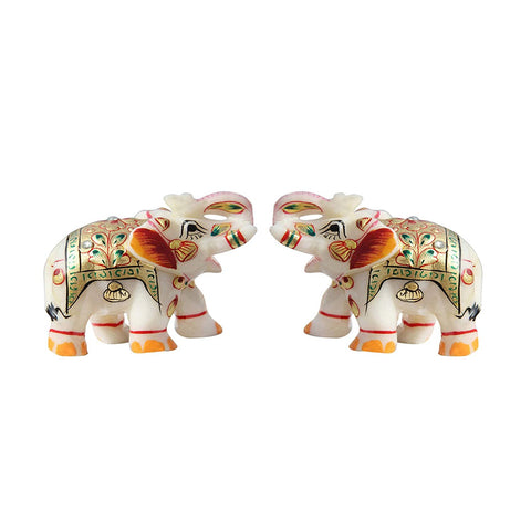Elephant Showpiece Painted Marble Pair