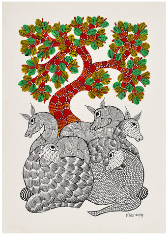 Deer Under Tree - Gond Painting