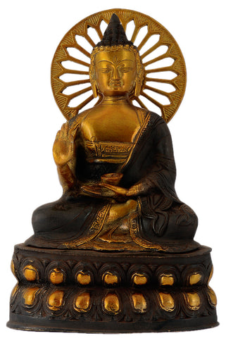 Beautiful Abhaya Mudra Buddha Antiquated Handmade Brass Sculpture Showpiece