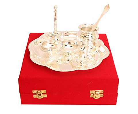 Om Design Pooja Aarti Silver Plated Thali