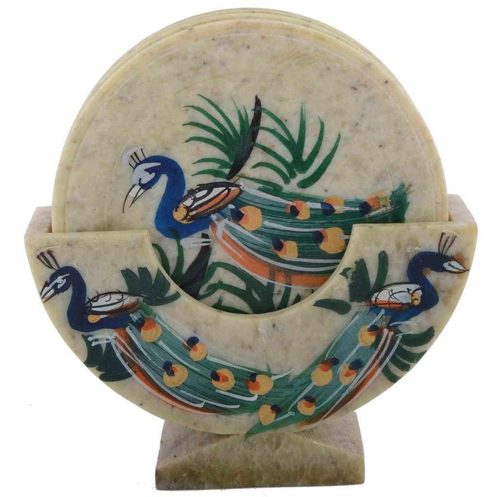 Beautiful Peacock Print Stone Coaster Set of 6