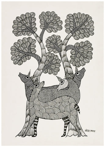 Herd Of Deer - Gond Painting