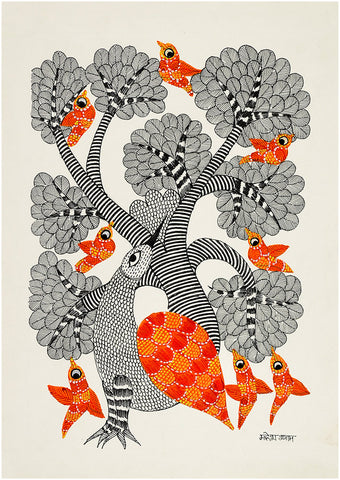 Tree Bird - Gond Painting