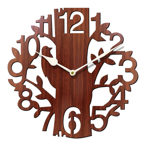 Tree Shape Decorative Wooden Wall Clock