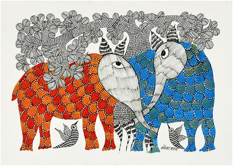 Talking Elephants - Gond Painting