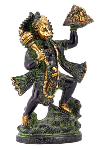 Veer Hanuman Carrying Mountain Brass Statue in Black Finishing