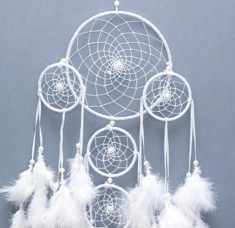 White Feather Dream Catcher Wall Hanging