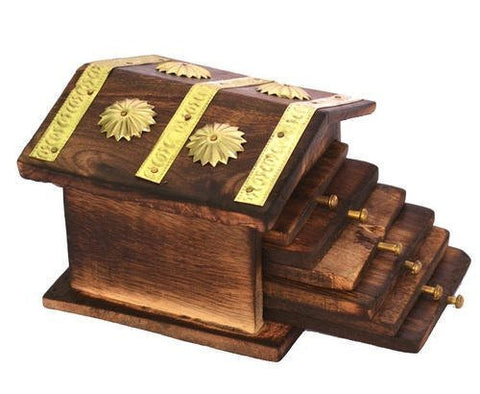 Wooden Antique Miniature Hut Design Coaster Set of 6
