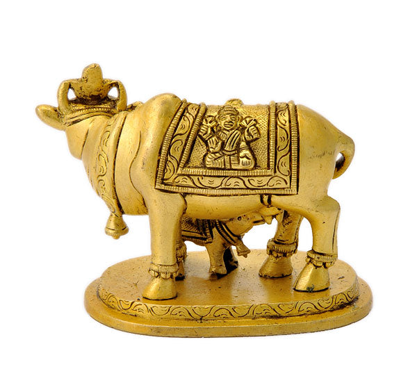 Auspicious Cow with her Baby Statuette 4""