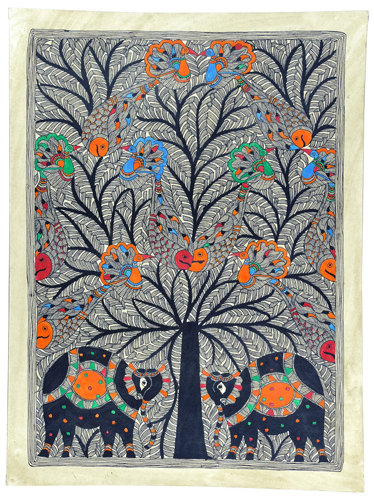 Tree of Life - Madhubani Painting on Handmade Paper
