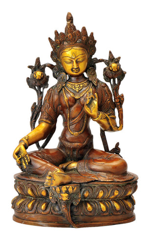 Seated Goddess Tara in Golden Brown Finish 12""