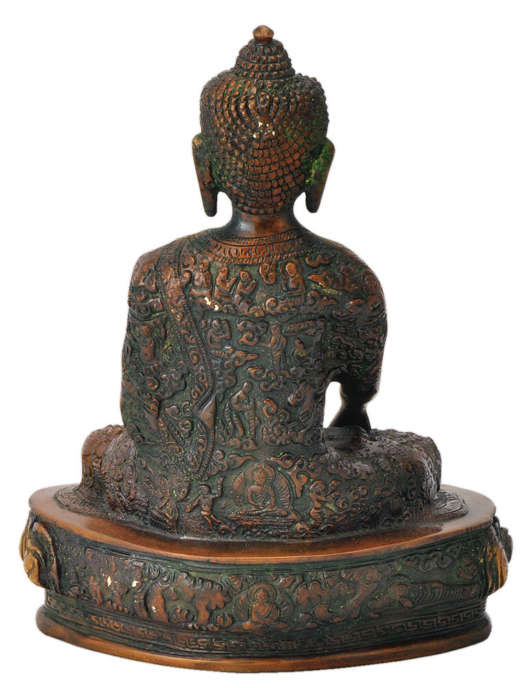 Beautiful Brass Buddha Golden Brown Finish 9.25""