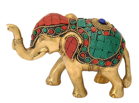Decorative Brass Ornated Elephant Figure