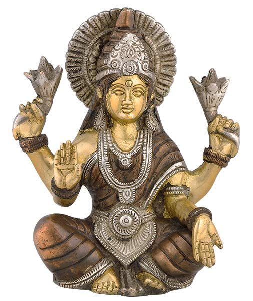 Seated Goddess Lakshmi - Brass Statue