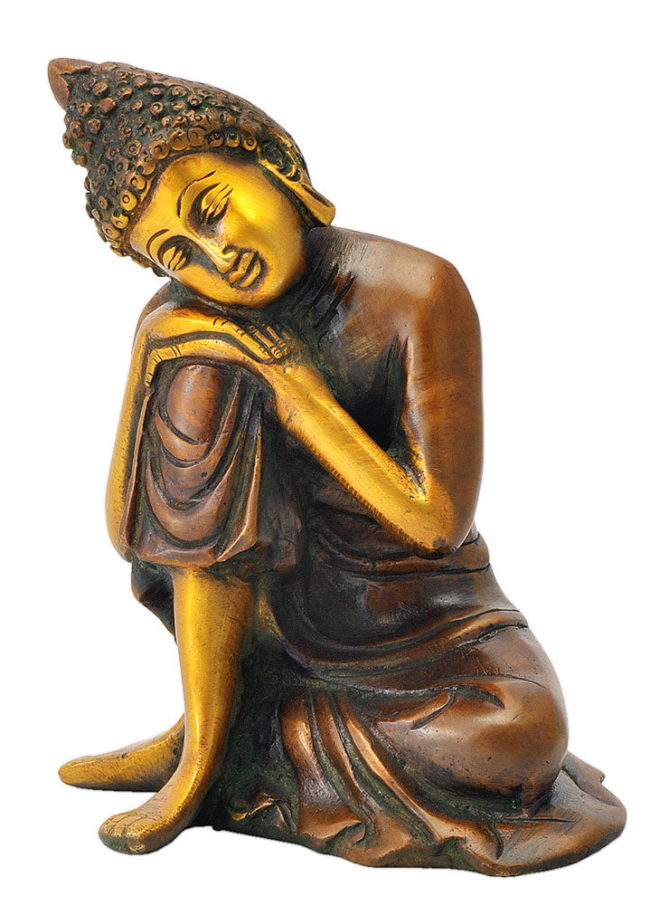 Dream of Buddha - Colored Brass Statue