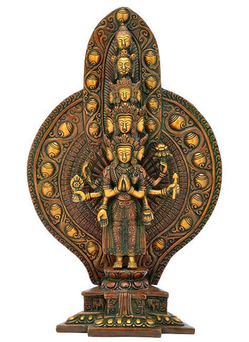 Avalokiteshvara Brass Sculpture 14""
