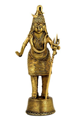 Shiva in Tribal Perspective - Lost Wax Casting 11""