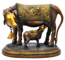 Beautiful Cow Feeding Her Calf Brass Statue